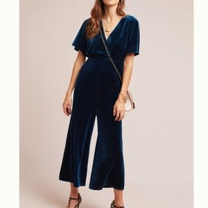 Anthropologie Luna Velvet Jumpsuit Teal Greylin